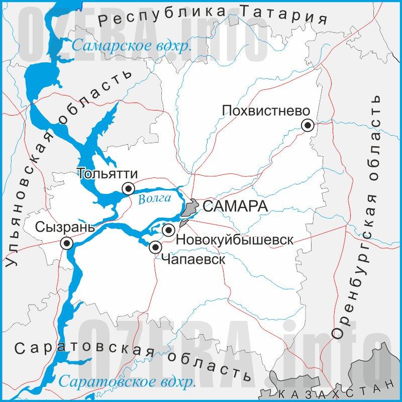 карта самарской области подробная для рыбака