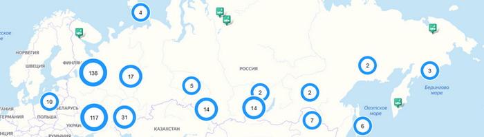 карта озер России