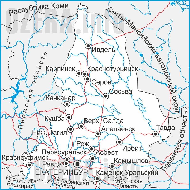 Карта Свердловской области