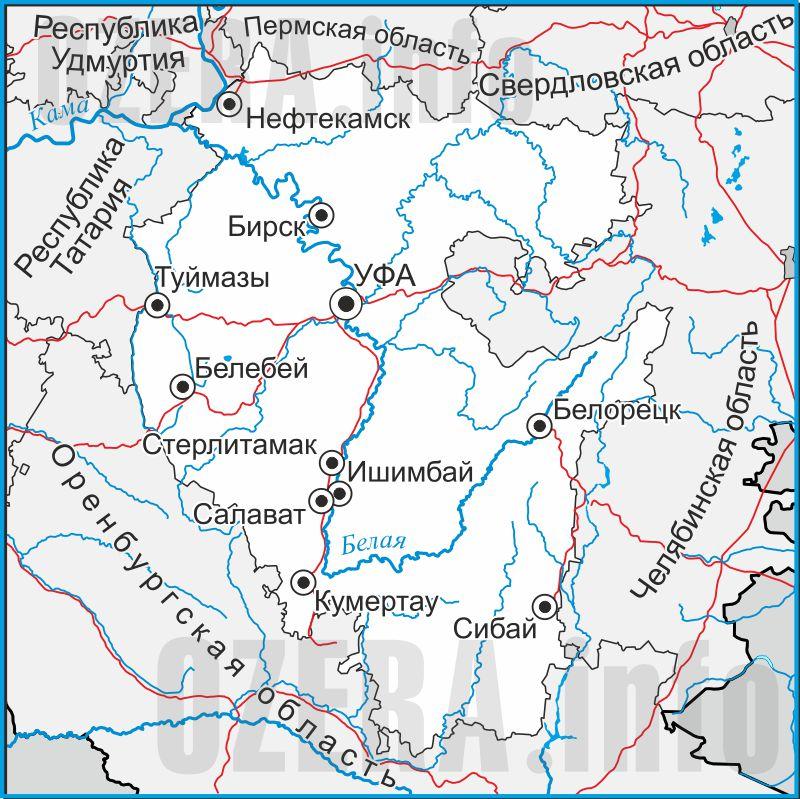 Карта Республики Башкортостан